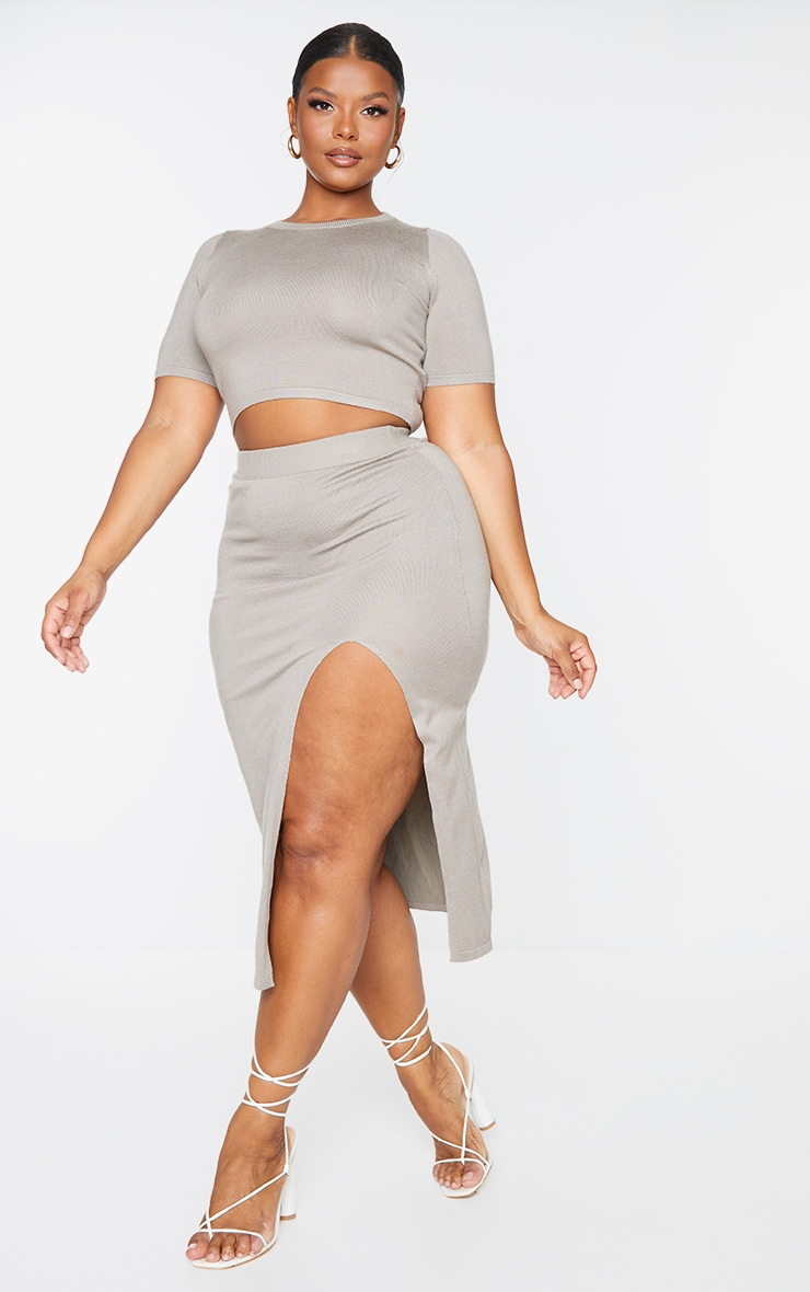 Plus Mocha Fine Split Knit Midi Skirt 1