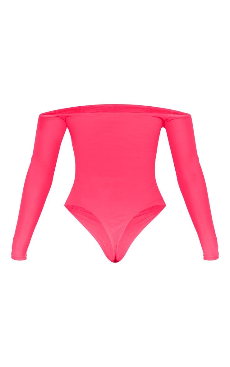 Hot Pink Mesh Ruched Panel Bardot Bodysuit 6