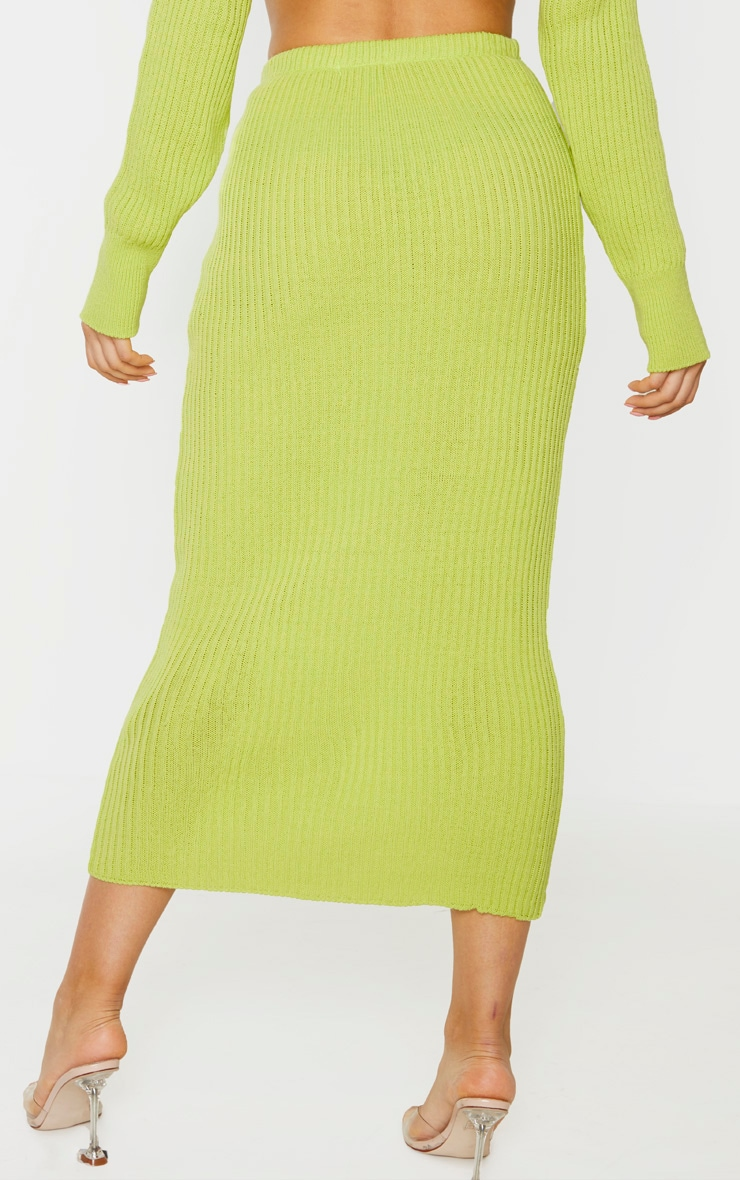 Tall Neon Green Knitted Midi Skirt 4