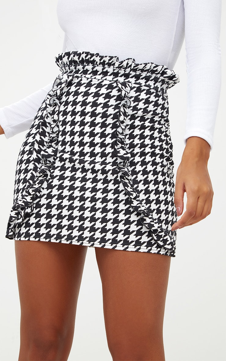 Black Dogtooth Paperbag Frill Mini Skirt 6