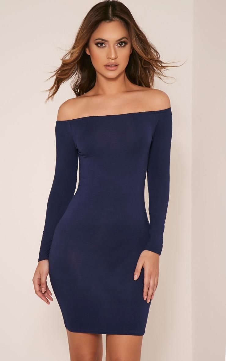 Basic robe moulante bardot bleu marine 1