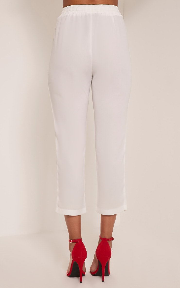 Delaney White Embroidered Pocket Trousers 5