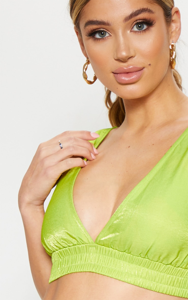 Neon Lime Woven Bralet 5