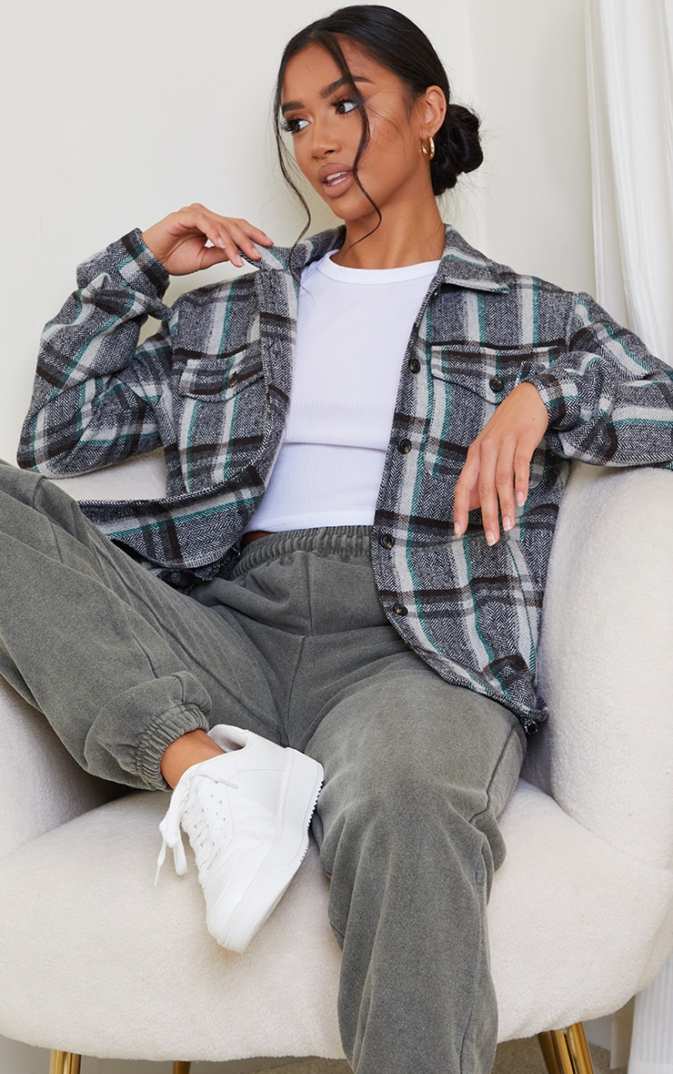 Petite Grey Tooth Checked Shacket 1