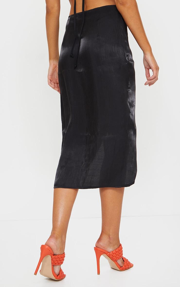 Black Satin Shimmer Twist Front Midi Skirt 3