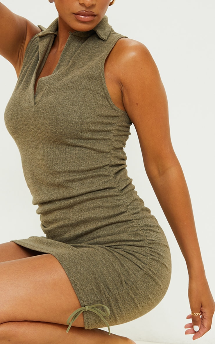 Khaki Brushed Broderie Polo Collar Ruched Bodycon Dress 4
