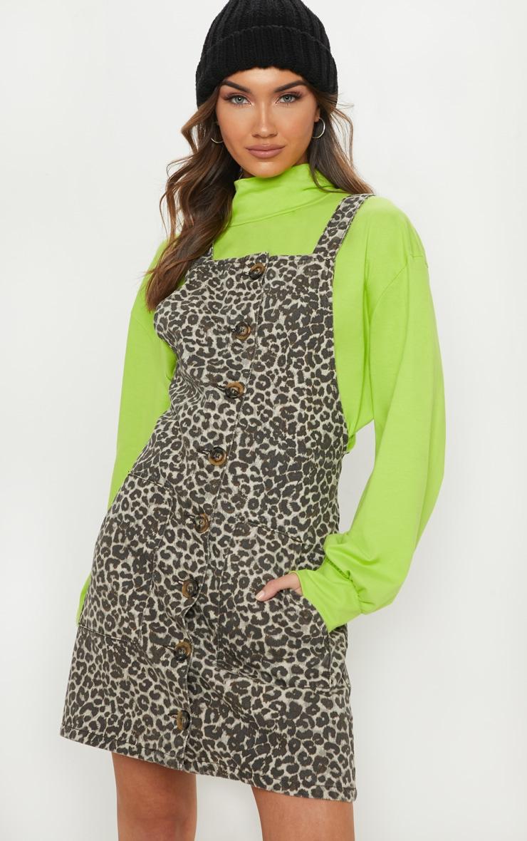Leopard Pinafore Denim Dress image 1 702aba0b0