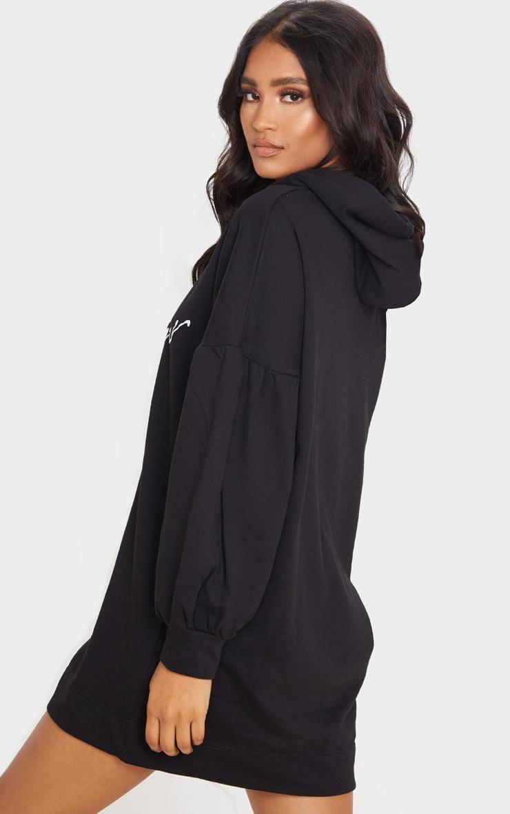 Black Lamour Pleated Sleeve Hoodie Jumper Dress 2
