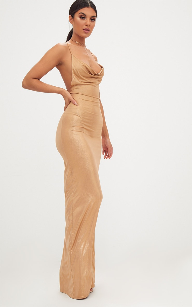 Gold Metallic Ruched Back Cowl Neck Maxi Dress 4