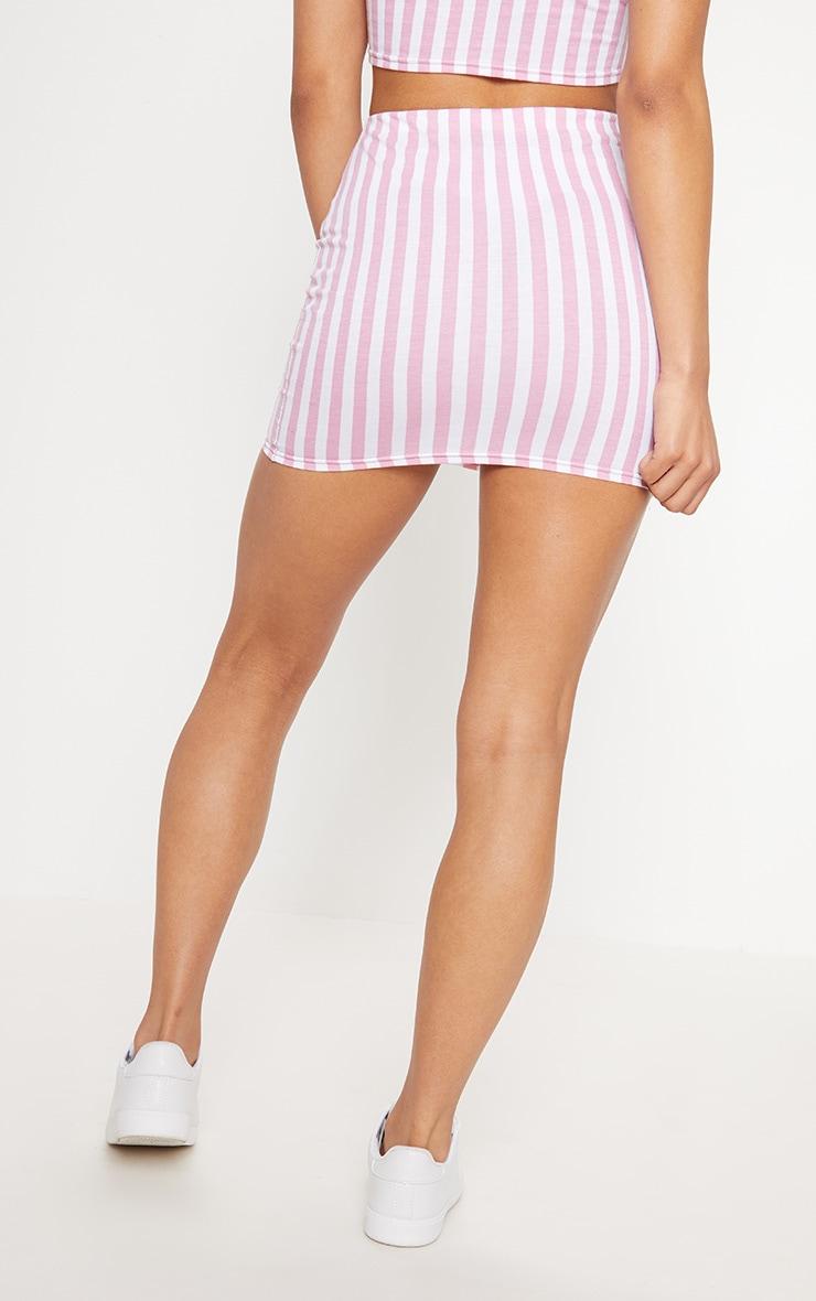 Pink Jersey Stripe Mini Skirt 4