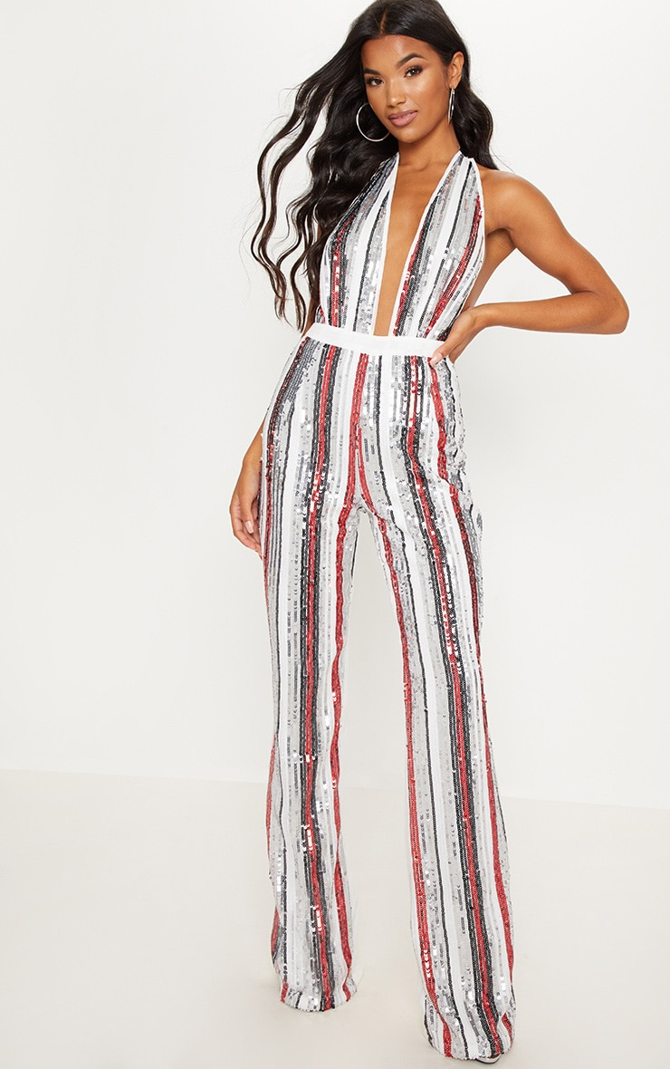 Multi Sequin Stripe Wide Leg Trouser