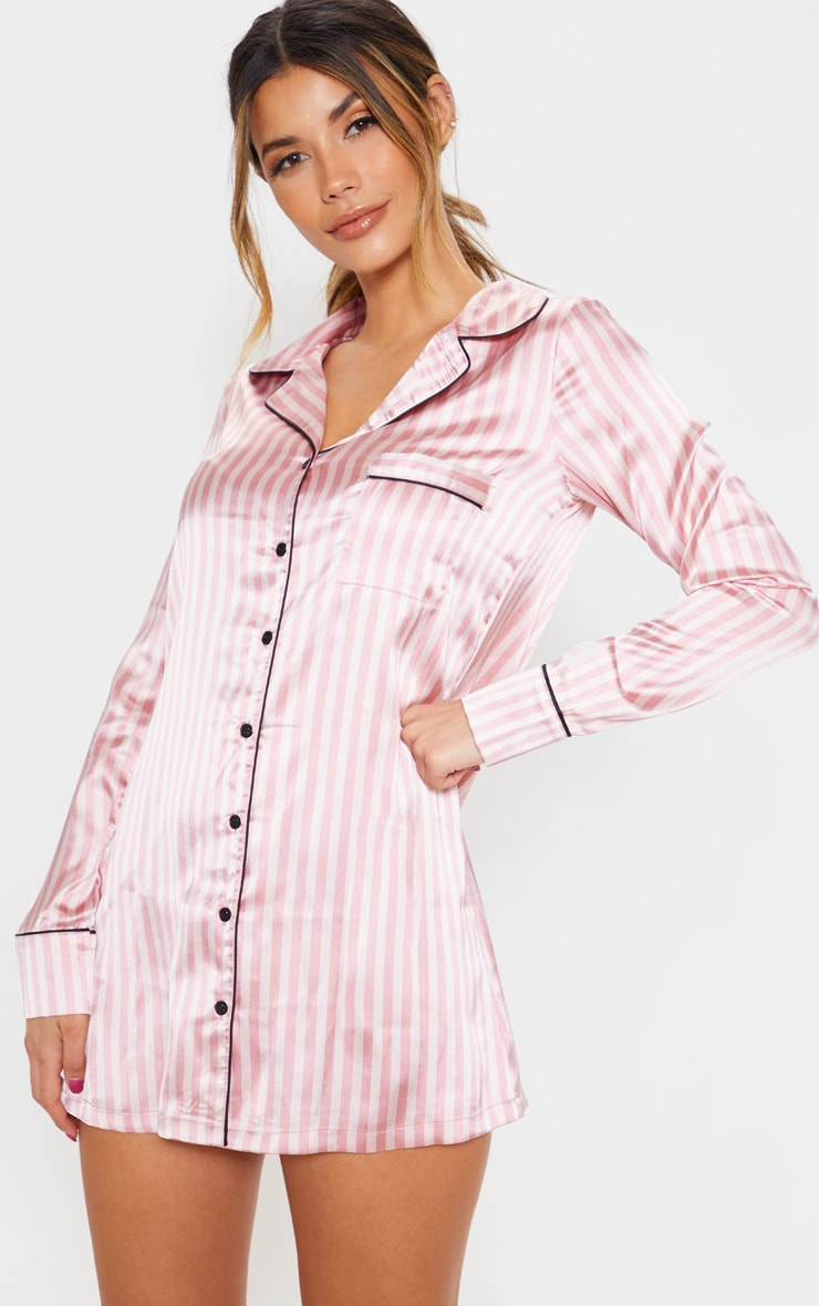Pink Satin Striped Night Shirt 1