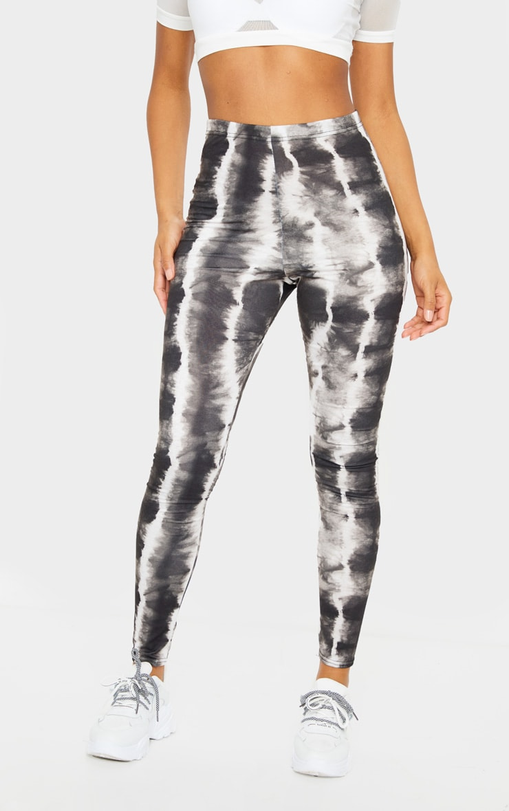 Black Tie Dye Print Leggings 2