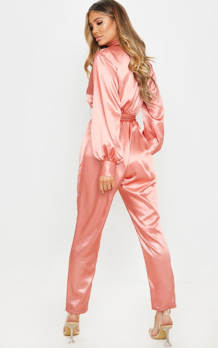 Pink Satin Balloon Sleeve Blazer Jumpsuit 3