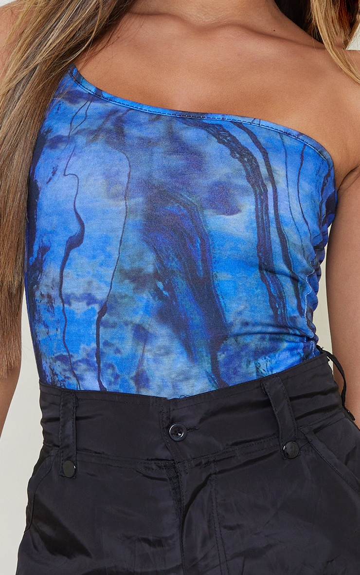 Blue Abstract Print One Shoulder Strappy Thong Bodysuit 4