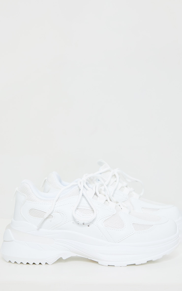 White Contrast Mesh Trainers 4