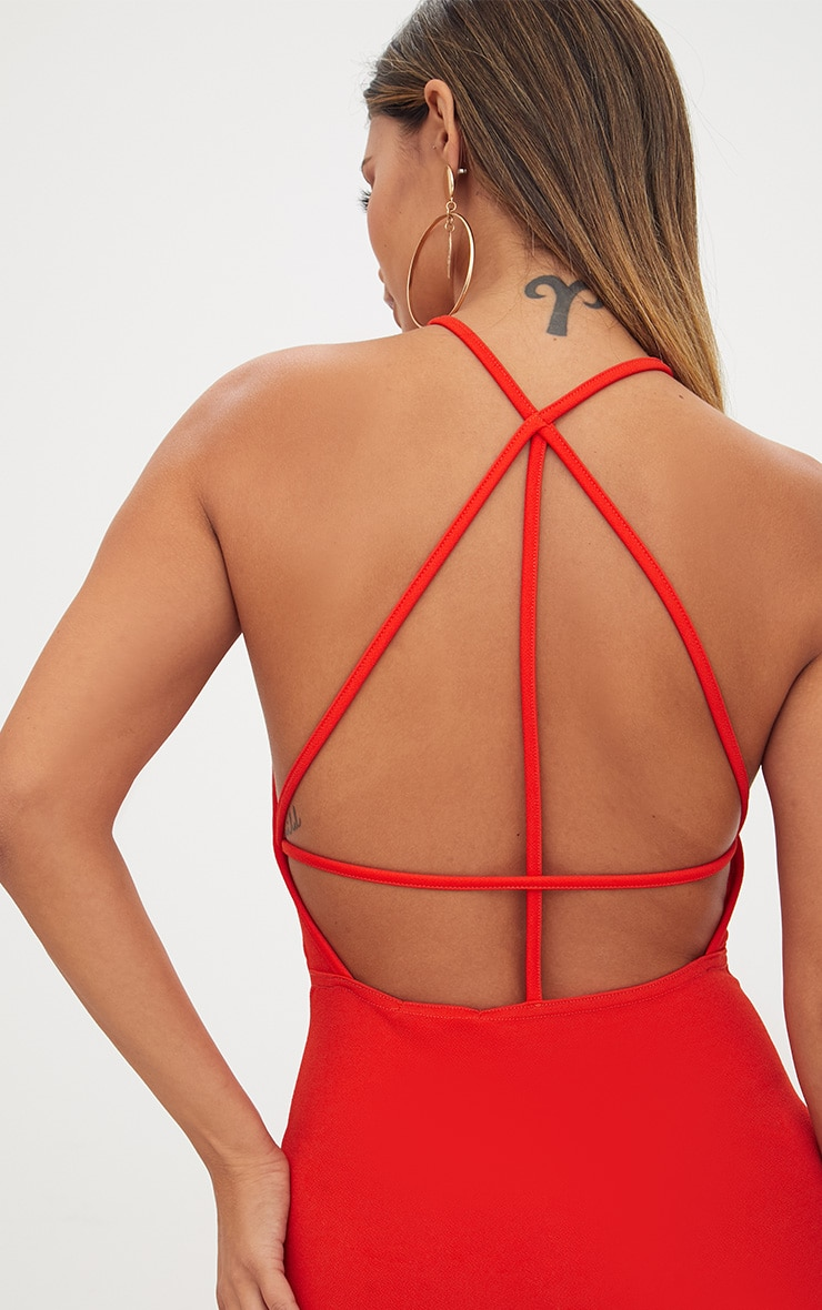 Tomato Red High Straight Neck Strappy Back Bodycon Dress 5