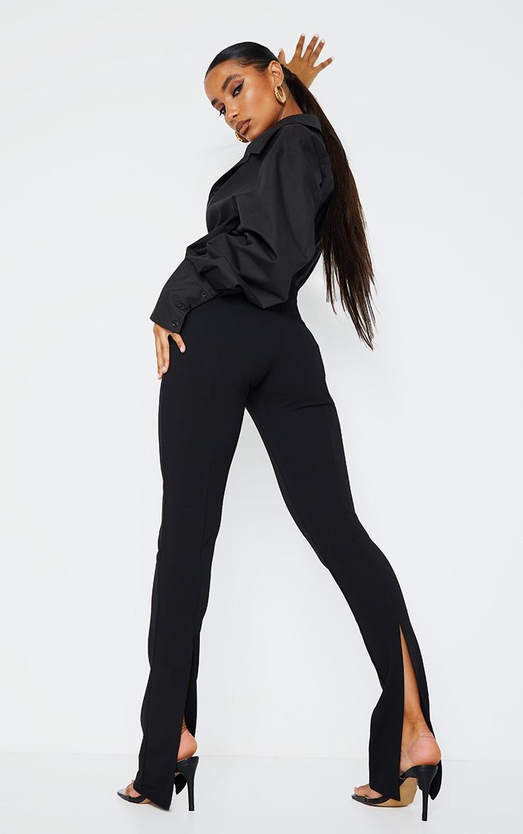 Black Back Split Hem Skinny Pants 1
