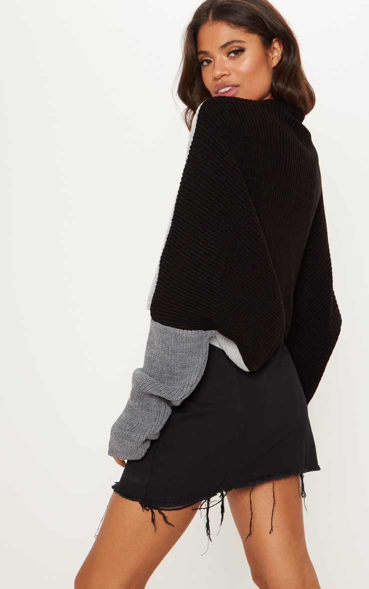 Black Oversized Colour Knitted Block Jumper  2