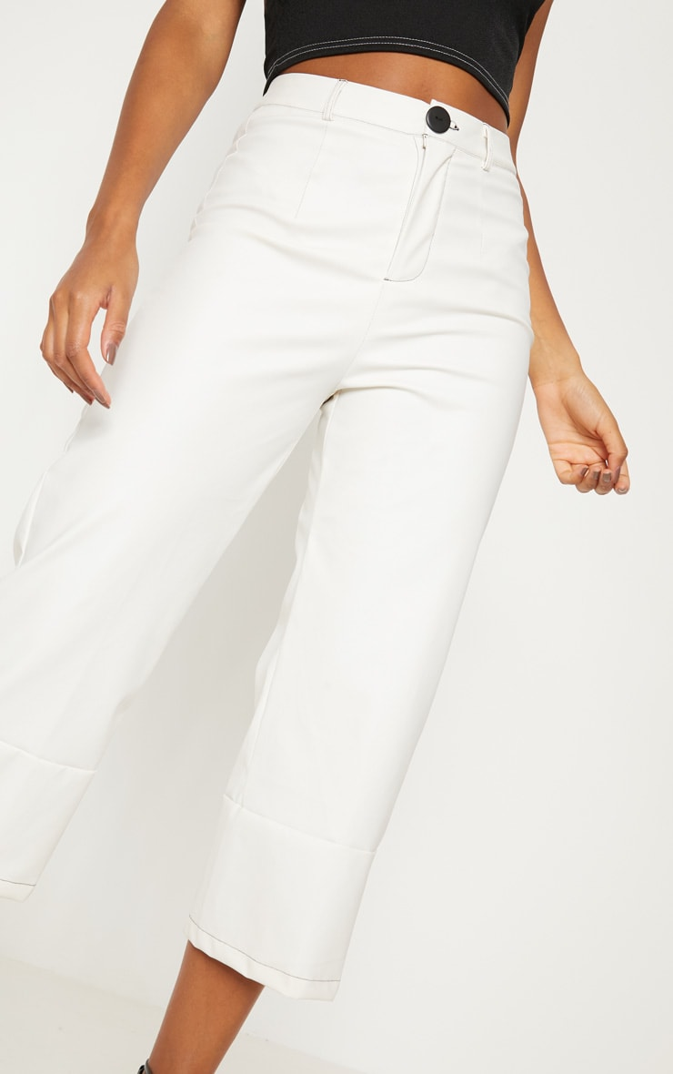 White Faux Leather Culotte 5