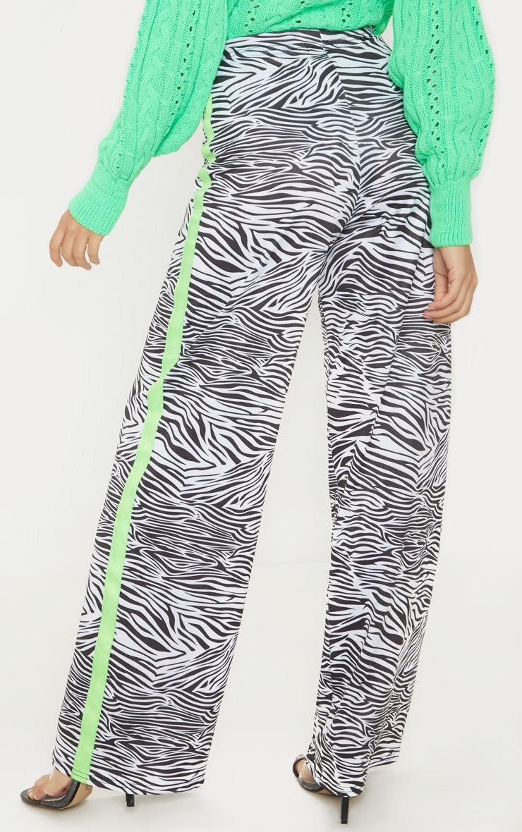 Petite White Zebra Print Neon Stripe Wide Leg Pants  2