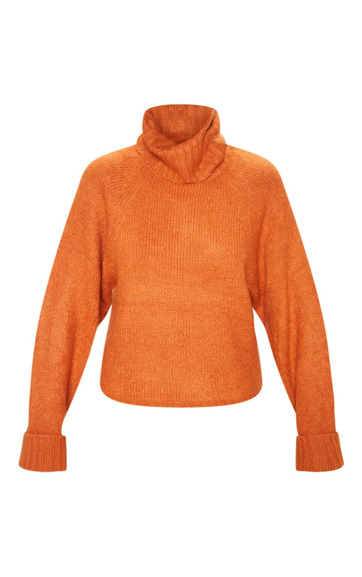 Pull en maille chunky moutarde à col roulé 3