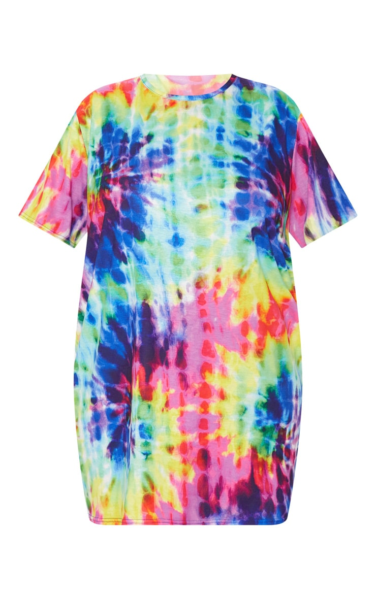 Plus Multi Tie Dye Short Sleeve T Shirt Dress 3