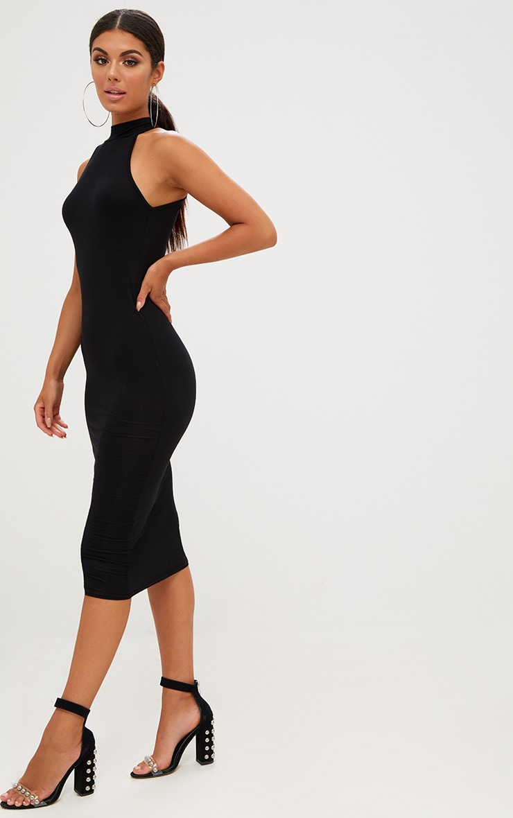 Black High Neck Midi Dress 3