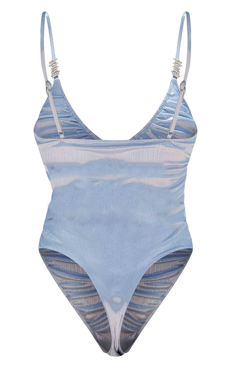 Baby Blue Shiny Textured Ruched Diamante Trim Swimsuit 6