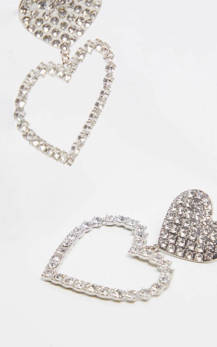 Silver Oversized Diamante Heart Earrings 3