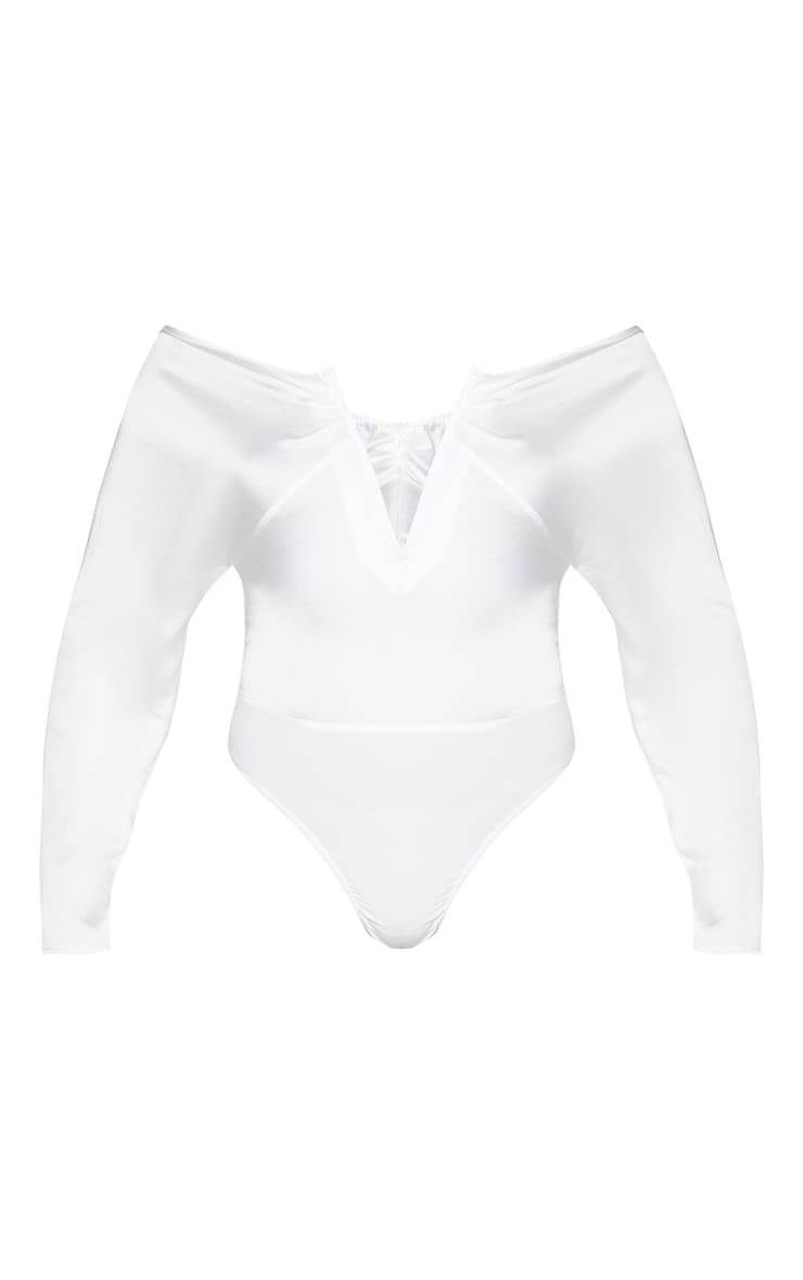 Cream Woven V Wire Ruched Bardot Bodysuit 3