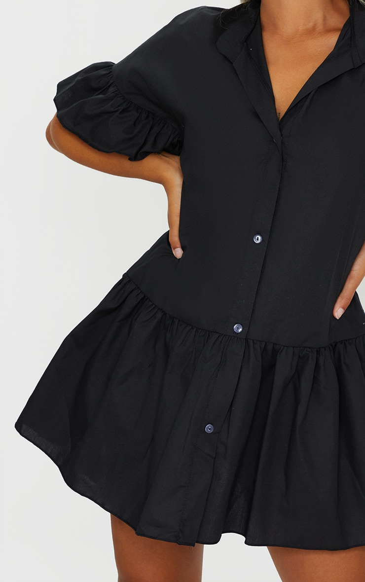 Petite Black Drop Hem Short Sleeve Shirt Dress 4