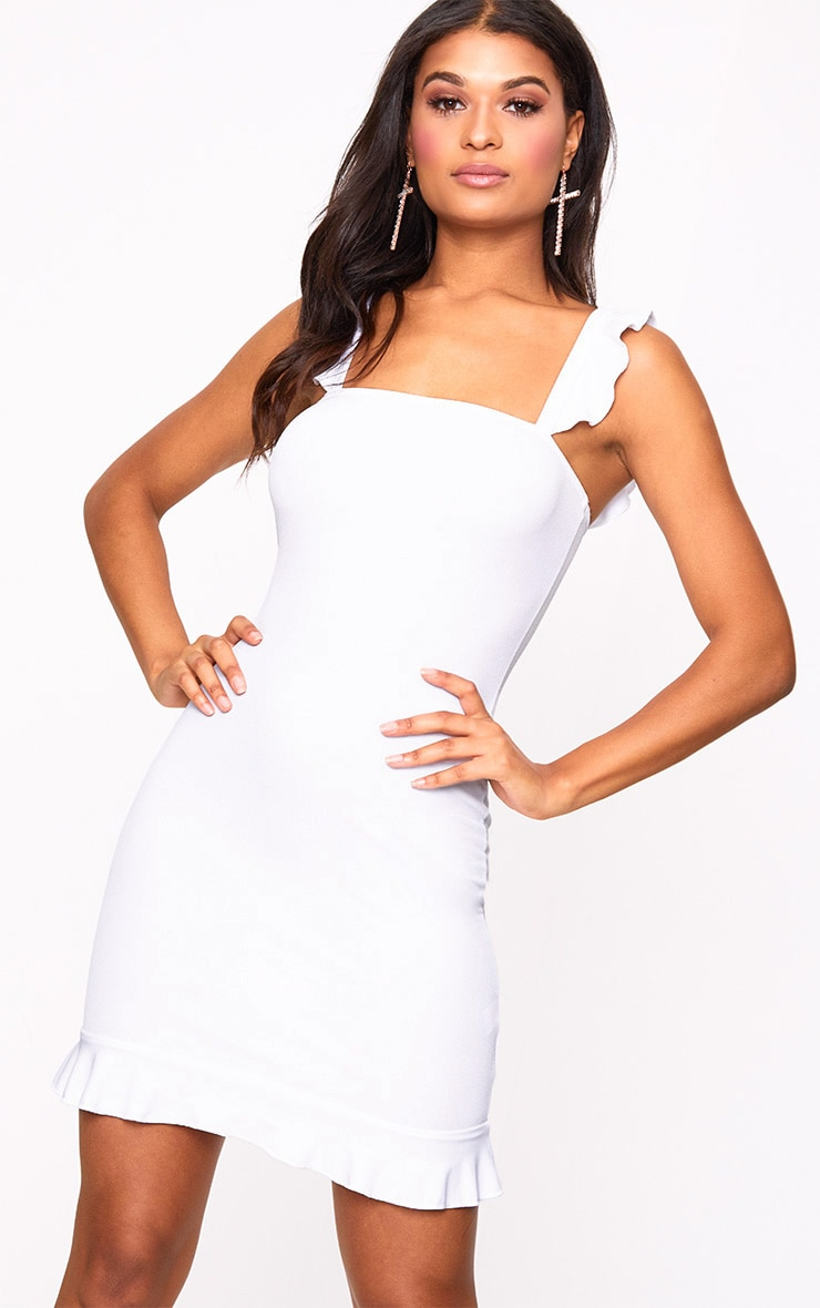 White Square Neck Frill Strap Bodycon Dress 1