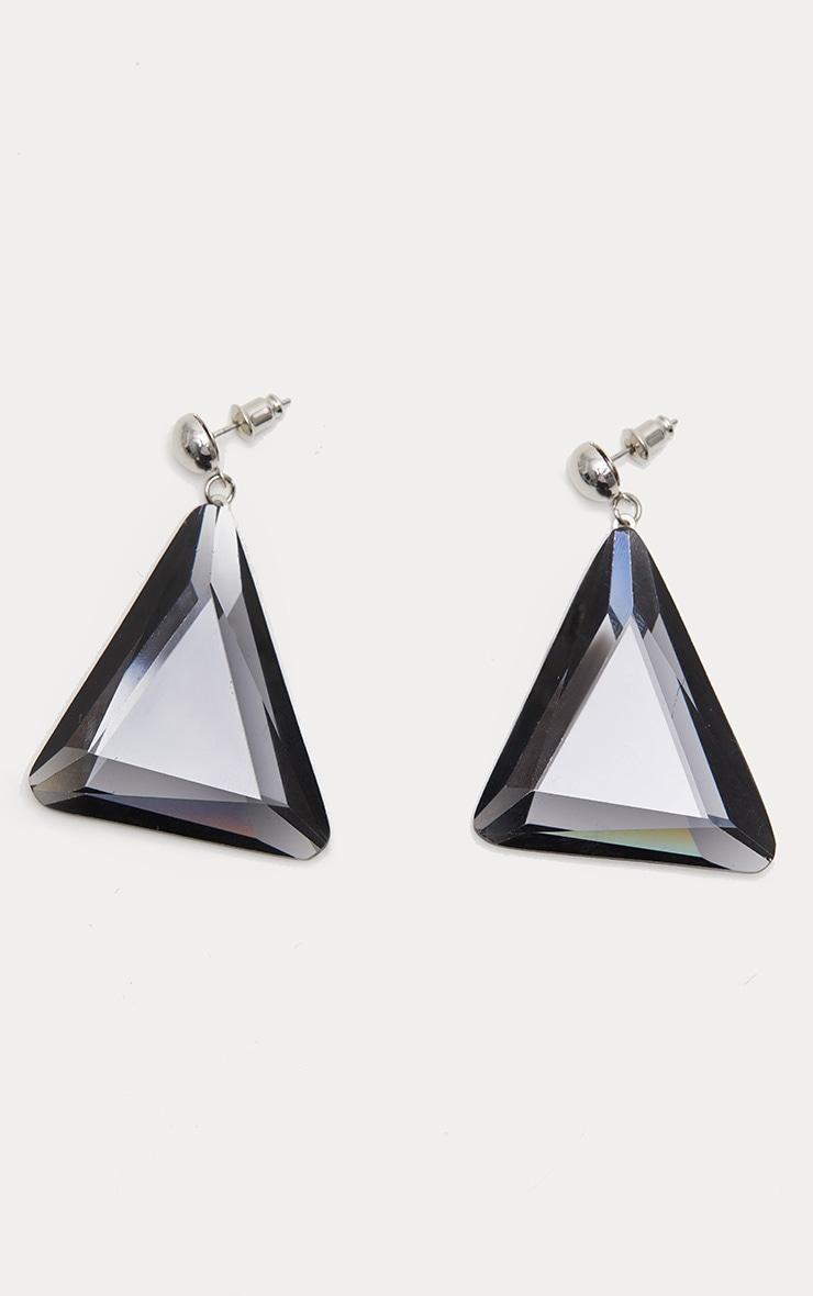 Black Square Gemstone And Diamante Chain Drop Earrings
