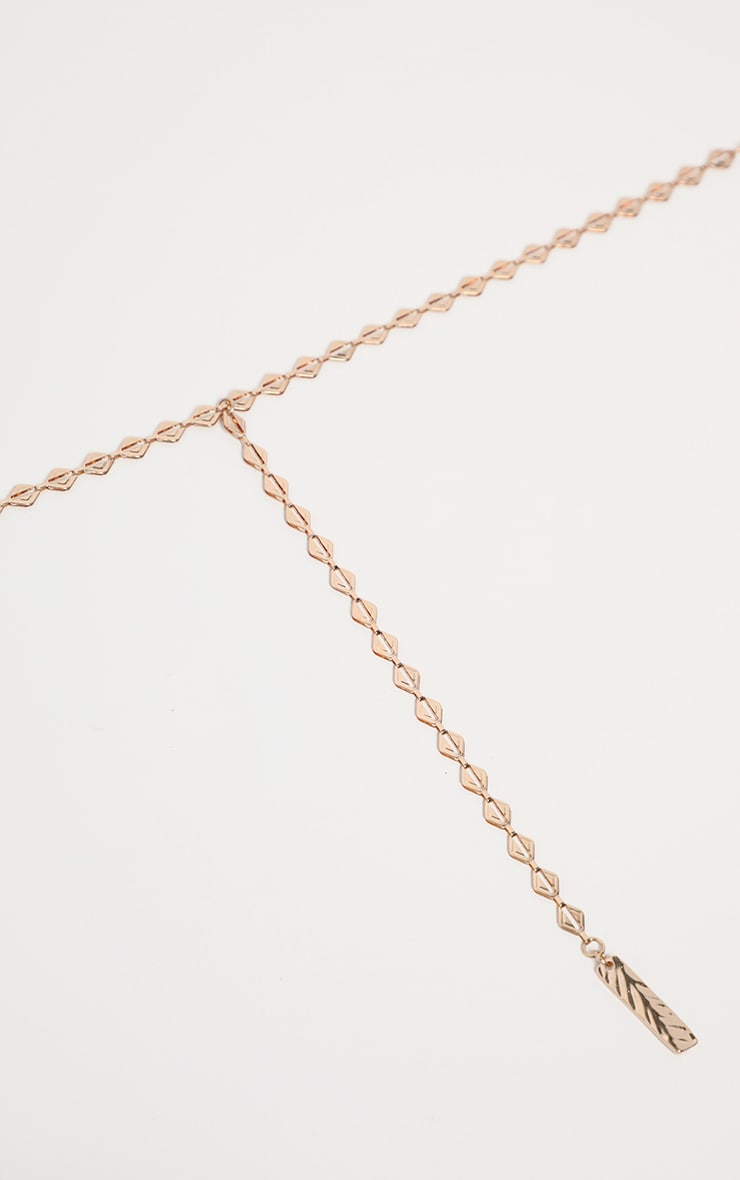 Gold Triangle Links Lariat Necklace 3