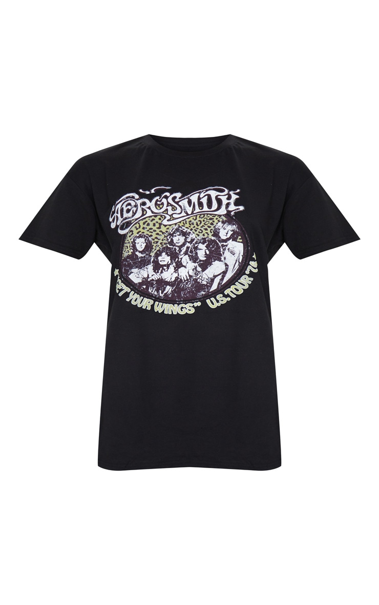 Black Aerosmith Slogan T Shirt Dress 5