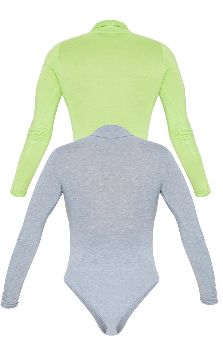 Basic Grey & Lime 2 Pack Roll Neck Long Sleeve Bodysuit 4