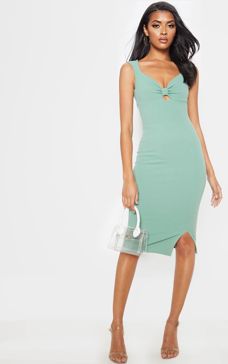 Sage Green Knot Front Plunge Bodycon Dress 1