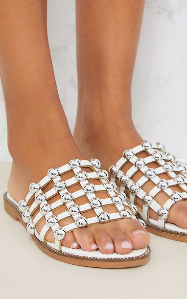 White Dome Studded Mule Sandal 5