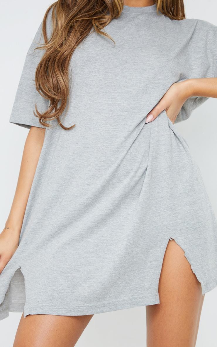 Grey Double Raw Edge Split Hem T Shirt Dress 4