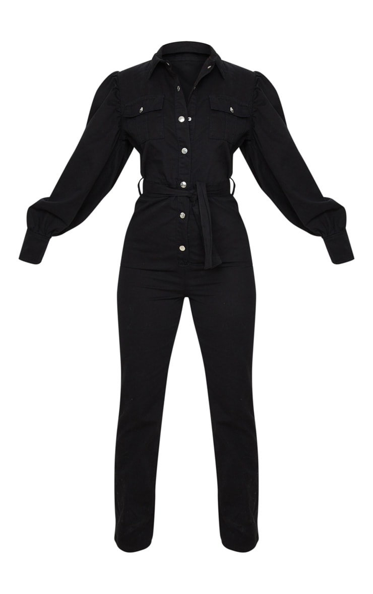Petite Black Balloon Sleeve Denim Jumpsuit 3