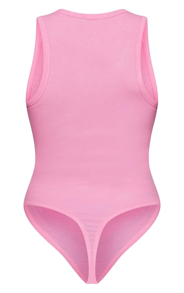 Candy Pink Soft Rib Racer Neck Sleeveless Bodysuit 6