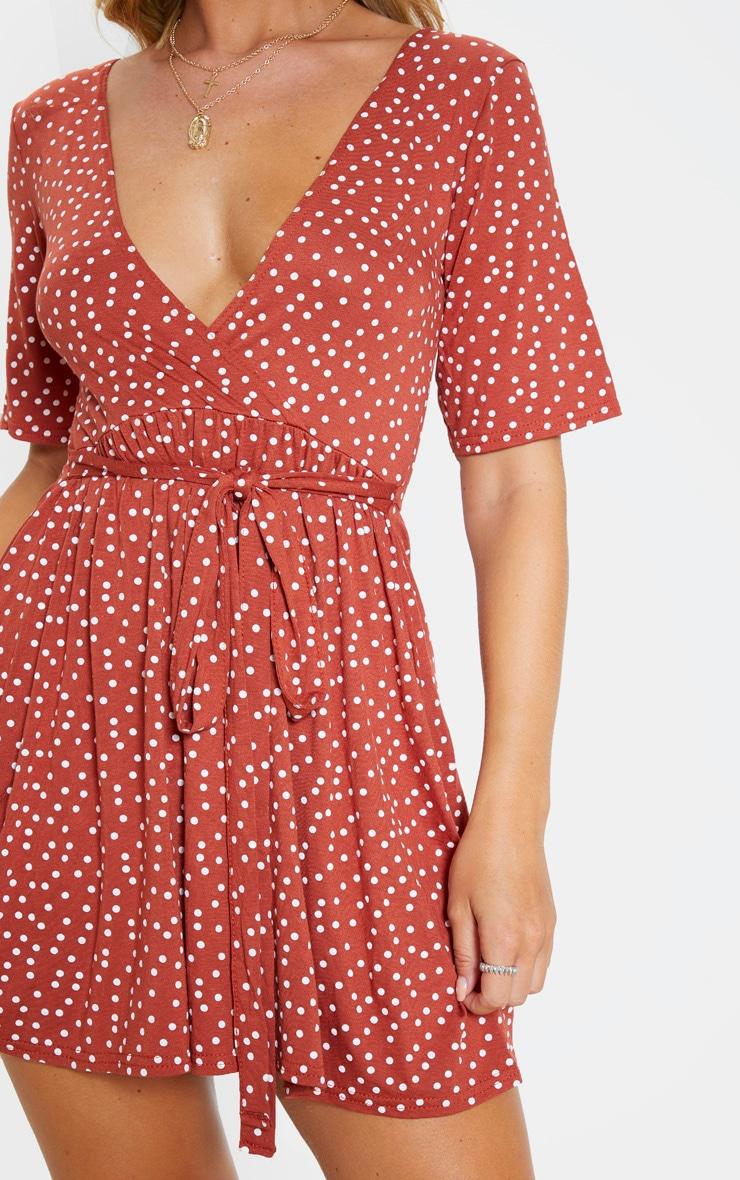 Terracotta Polka Dot Print Wrap Tea Dress 5