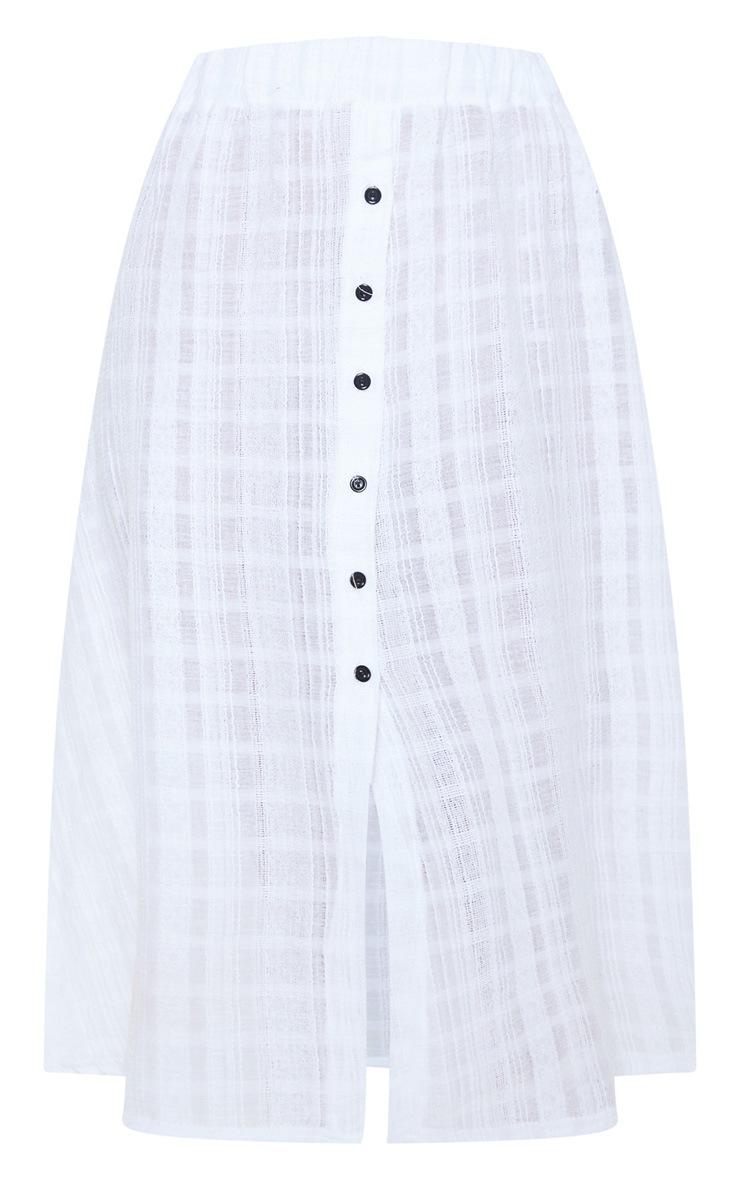 White Button Up Beach Skirt 3