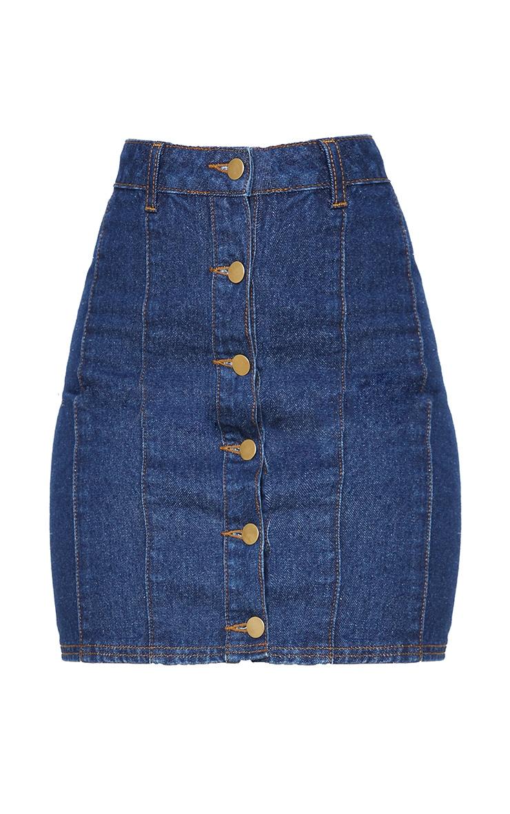 Mini-jupe en jean bleu moyennement délavé 3