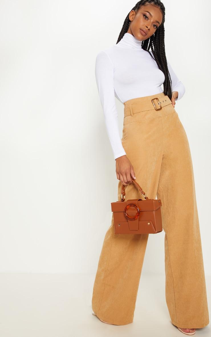 Pantalon ample en suédine marron à ceinture