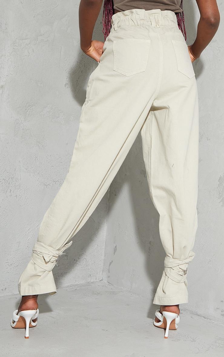 Sand Washed Tie Hem Paperbag Jeans 3