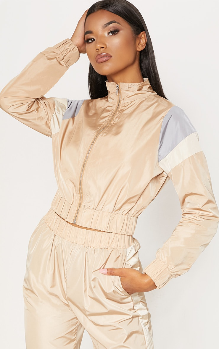 Sand Stripe Shell Tracksuit Top 4