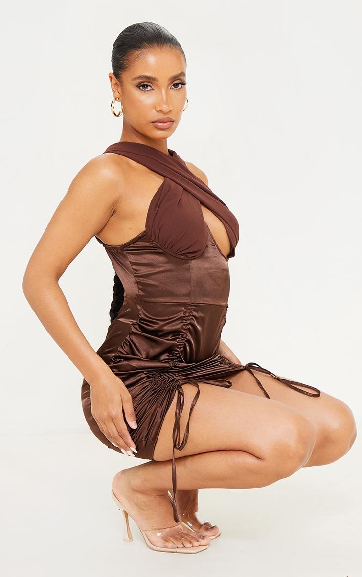 Chocolate Satin Halterneck Underbust Ruched Bodycon Dress 3