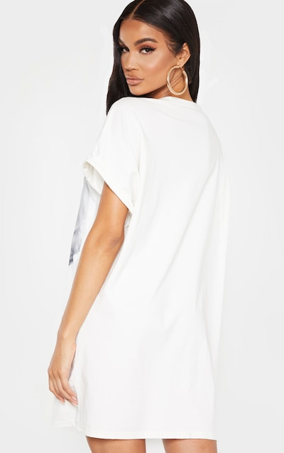 White Marilyn Monroe Printed T Shirt Dress